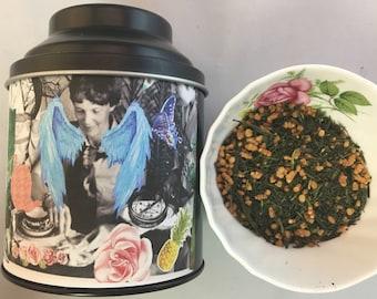 Amelia Earhart Genmaicha Tea Green with Brown Rice and Popcorn 2 oz in Tin Caddy