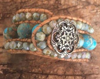 Beaded Leather Wrap Bracelet, Turquoise Beads, Brown Leather Bracelet, Cuff Bracelet