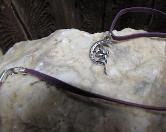 Moon fairy purple suede necklace pendant