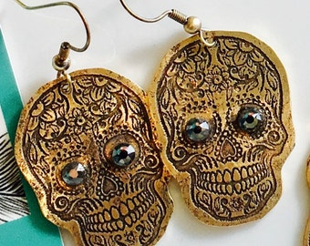 Red brass etched sugar skull earrings