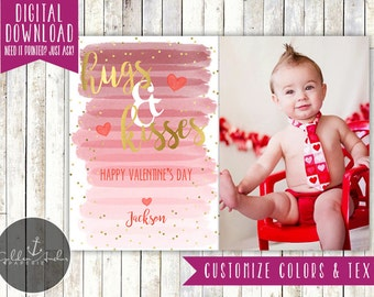 Hugs & Kisses Pink Ombre Watercolor Photo Valentine's Day Card - Printable DIY