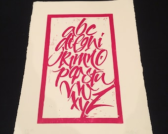 Blade original alphabet. Decoration lyrics. Engraving linoleum lyrics. Edition limited. Blade decoration alphabet. Signed and numbered.