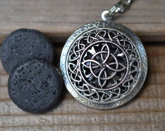 Lava Stone Essential Oil Diffuser Necklace//Celtic Knot//Aromatherapy Gift //With a Choice of Essential Oil (12 Variety)