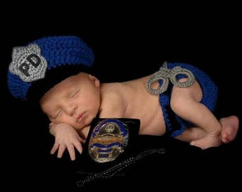 Newborn, Police, Law Enforcement, Crocheted,  Photo Prop with Hat, Diaper Cover and Built In Handcuffs