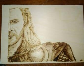 Hand burnt A4 plaque Thor