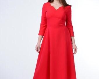 Elegant dress, The skirt is flared, Red dress, Red MIDI length dress, Notched neck line, dress 3/4 sleeve  Retro dress ,Holiday dress