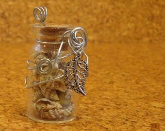 Wire wrapped Glass Bottle with Leaf Charm - Filled with Seashells - Handmade
