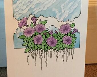 Purple Petunias and the Cirrus