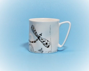 Bone china.Coffee cup.Tea cup  Dragonfly.Porcelain.Pottery cup.Coffee mug pottery.Tea mug pottery