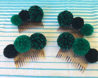 Beautiful Teal and Black pompom haircombs