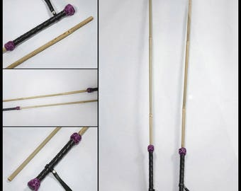 Leather BDSM riding crop, Bamboo Cane, with wrapped Handles!
