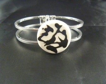 Bangle Bracelet with Black and White Focal