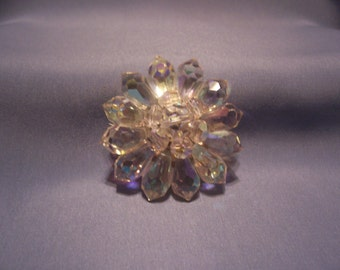 Faceted Aurora Crystal Flower Brooch