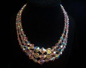 Pink Aurora Crystal Three Strand Necklace