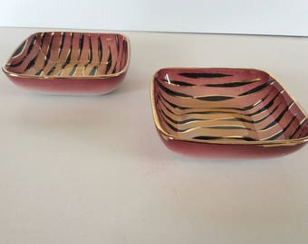 Two small dishes vintage porcelain Zebra. Made in Italy