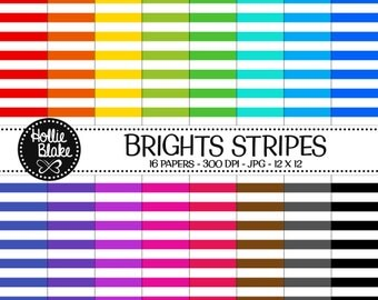 Buy 1 Get 1 Free!! 16 Bright Stripes Digital Paper • Rainbow Digital Paper • Commercial Use • Instant Download • #STRIPES-101-B