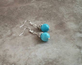 Turquoise, earrings, with rhinestone, accents, blue, flashy