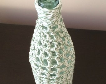Touch of Green Crochet Decorative Bottle Vase - Handmade