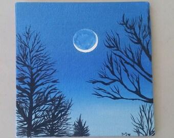 Blue moon, acrylic canvas, forest paintig,sky and moon, canvas 6x6