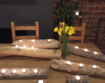 Selection of driftwood tea light holders. Various sizes and prices available.