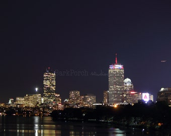 Boston skyline; Night; September 11th; Patriotic; America; Prudential Center; Charles River; Citgo Sign; Boston University; Wall art; poster