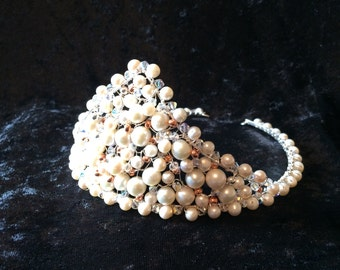 Lucinda handcrafted tiara in freshwater pearls and Swarovski crystals