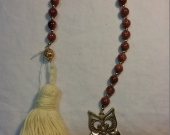 Brass Owl Goldstone Paternoster Prayer Beads