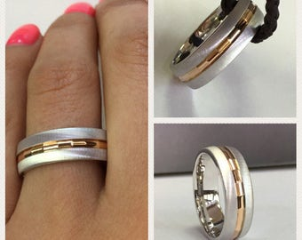 14k white gold and rose gold wedding band