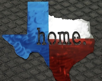 "Texas ""home"" flat metal sign"
