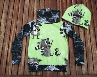 Beanie + sweater set racoon dream with Chalk Stars. Sweater / collar sweater + Croissant with Beanie KU 51-54. Handcrafted