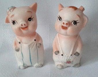 Country Pigs Salt and Pepper Ceramic Anthropomorphic Shakers, c.1960.