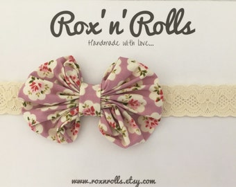 Baby, toddler, newborn, girls large bow on lace headband accessories