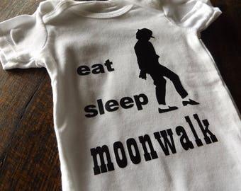 Eat Sleep Moonwalk Onesie Bodysuit Michael Jackson King of Pop Onepiece Creeper Romper Baby Clothing Pop Rock Dance Music (#51)