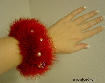 Red Mink Cuff Bracelet with Crystals and Pearls