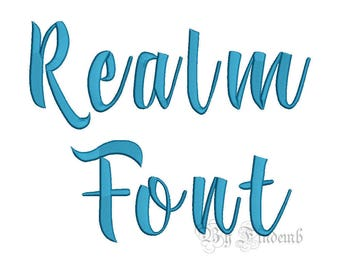Realm Embroidery Font Designs 4 size Instant Download