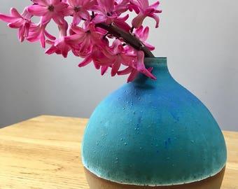 Handmade sphere bud vase wheel thrown
