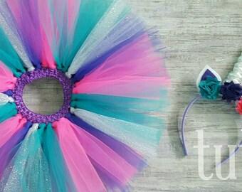 Teal, Pink, Purple & Silver Tutu with matching Unicorn Headband