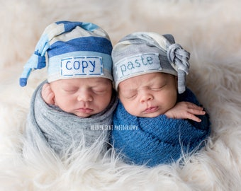 Twin hats, twin hats personalised, personalized hats for twins, personalized twin hat, newborn personalized hat, gift for baby twins