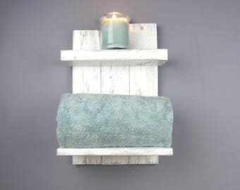 Small Wood Wall Shelves For Bathroom–White Bathroom Shelves Over Toilet–Reclaimed Wood Thick Rustic Shelf–2 Tier Wood Bathroom Open Shelving