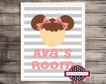 Brunette Girl Striped Print/Big Kid Room Print/Wall Decor/Gallery Wall/Toddler Name Print/Custom Baby Print/Printable Baby/Nursery Decor