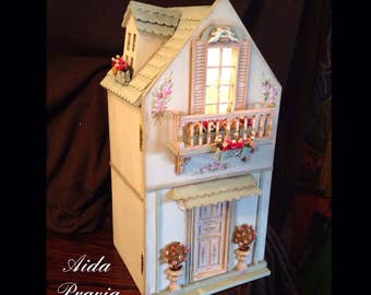 Shabby House 1:12. Hand painted