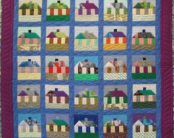 Handmade 'Suburban Sunrise' Patchwork Quilt