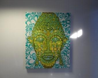 Table buddha fluid painting pop art 100cmx80cm art PsiveArt epoxy resin