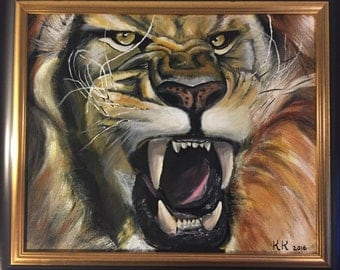 Acrylic Lion Painting on canvas with frame
