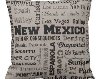 New Mexico pillow - NM typography throw pillow - gray, light yellow, or clay/peach decorative pillow - New Mex. cushion - home decor - gift