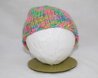 Hand Knitted Infant Hats - Neon Rainbow