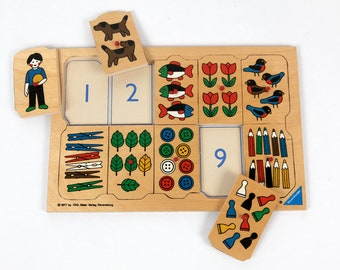 Vintage puzzle-wooden puzzle with numbers