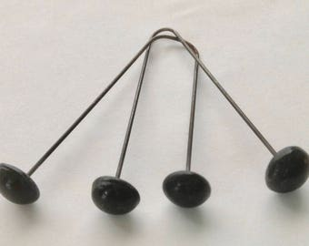 2 Pair Teddy Bear Black Shoe Button Eyes On Wire ~ 8mm ~  NEW VINTAGE