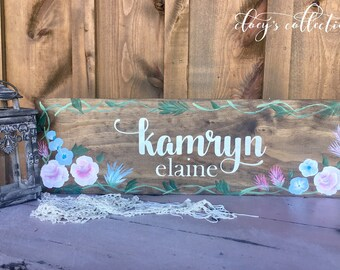 Baby girl / first middle name / rustic chic wood sign / flowers / pastel / nursery