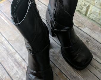 Original 80s Vintage Chunky Platform Ankle Boots Vegan Cosplay Steampunk Goth